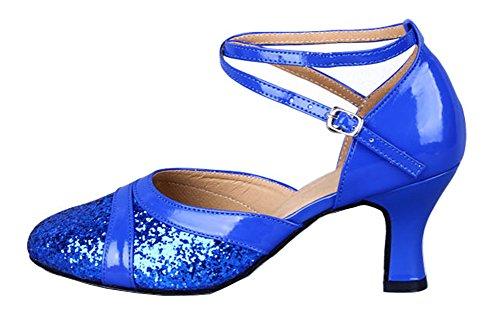 Honeystore Damens Pailletten Runde Toe Latein Tanzschuhe Blau