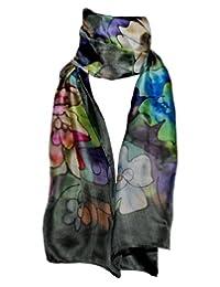 Hand-Painted 100% Silk Scarf - Peonies on Black