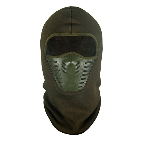 Tagvo Warm Balaclava Full Face Mask Cover with Breathable Mesh Silicone Panel, Winter Fleece Wind Proof, Fit Helmet Hat for Adults Women and Men - Army Green Elastic Size Universal -