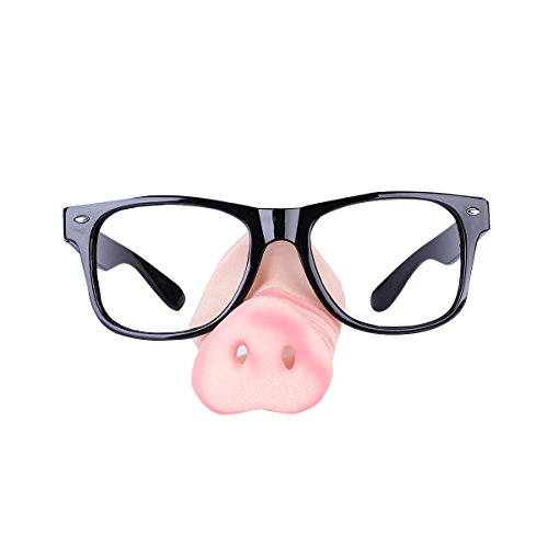 LUOEM Halloween Glasses with Pig Nose Attached Novelty Costume Party Frame Fancy Party - With Nose Attached Glasses
