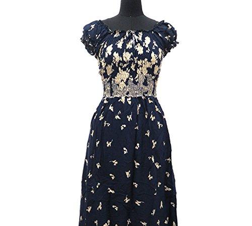 Small-shop dresses Women's Dress Ladies Print Bubble Sleeves Dress Women's Clothing,Azure Blue Gold Flower,XL ()