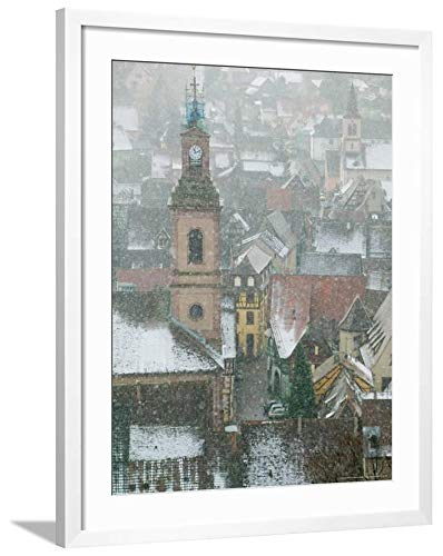 ArtEdge View of Alsatian Wine Village, Ribeauville, Haut Rhin, Alsace, France by Walter Bibikow, White Matted Wall Art Framed Print, 32 x 24, Soft -