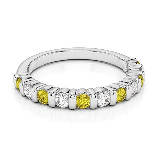 G-H/VS 1/4ct Coupe ronde Certifié Saphir Jaune et diamants en platine 950Agdr-1096