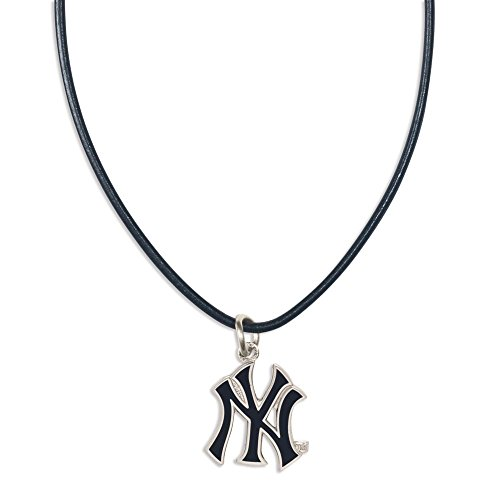 New York Yankees Necklace (MLB New York Yankees 93993071 Necklace with Leather)