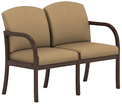 Lesro Weston 2 Seat Sofa in Cherry Finish, Castillo Honeydew