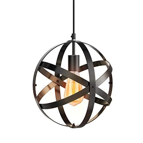 (Ascher Industrial Black Metal Spherical Pendant Light, Displays Changeable Vintage Ceiling Light Fixture, Diameter 11.3'', Adjustable Black Cord & E26 Base Lamp Holder Hanging Light Kit,1-Pack)