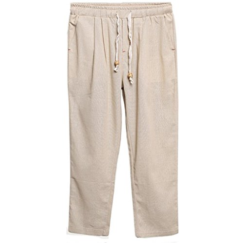Washed Linen Cropped Pants (Stunner Men's Summer Beach Drawstring Ankle-length Pants CN L Beige)