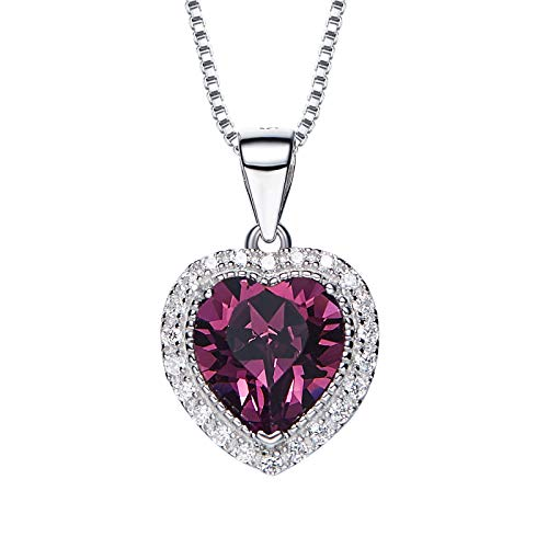 (SNOWH Jewelry Necklace & Pendant Swarovski Crystals Stone Heart Lucky Birth Rhinestone Silver Plated Chain for Women Birthday Wedding Christmas February, 02.February Birthstone - Amethyst)