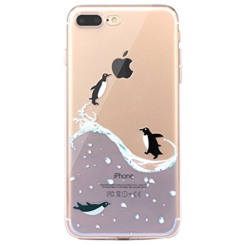 Whimsical Penguin (iPhone 7 Plus Case, iPhone 8 Plus Case, JAHOLAN Amusing Whimsical Design Clear TPU Soft Case Rubber Silicone Skin Cover for Apple iPhone 7 Plus / iPhone 8 Plus - Penguin Fly)