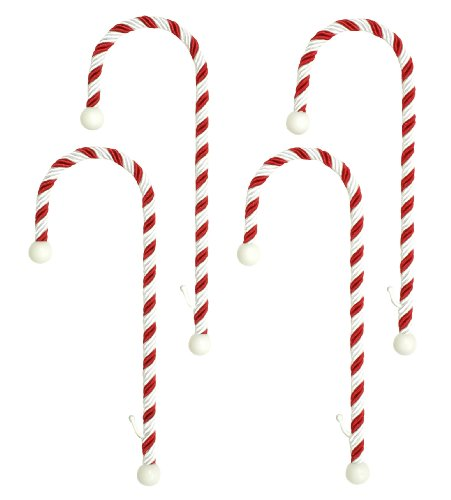 Haute Decor CC0402R Candy Cane Stocking Holder, 4-Pack, Classic Red and White (Mantle Stocking Flat For Holders)