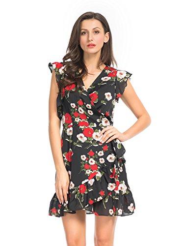 (Clothink Women Cold Shoulder Floral Print Ruffle Detail Tie Waist Wrap Dress S Black)