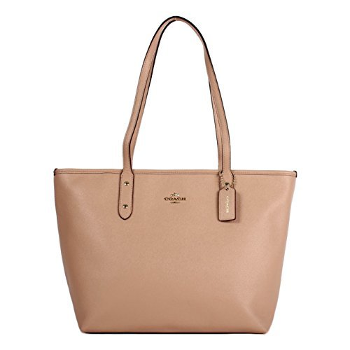 Coach City Crossgrain Leather Tote (GOLD/NUDE PINK)