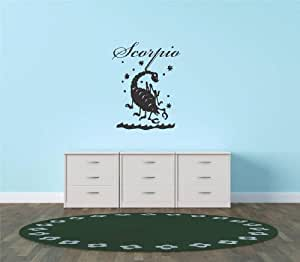 Decal - Vinyl Wall Sticker : Scorpio Zodiac Sign Horoscope Astrology Tarot Living Room Bedroom Kitchen Home Decor Picture Art Image Peel & Stick Graphic Mural Design Decoration - Size : 12 Inches X 12 Inches - 22 Colors Available