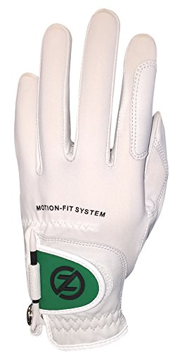 Zero Friction Mens Motion Fit by Johnny Miller Golf Glove, White/Green Flap, Left Hand, One Size