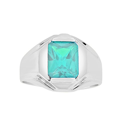 (White Rhodium Plated Metal, Classic Ring Men Guy Gent Synthetic Mar Birthstone Blue CZ Size)