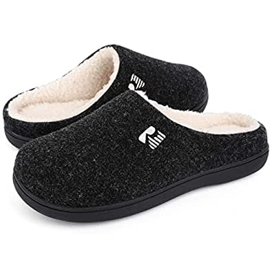 RockDove Men's Sherpa Lined Memory Foam Clog Slipper, Size 7-8 US Men, Black/Sherpa