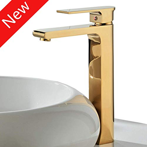 Contemporary Single Handle Tall Vessel Sink Bathroom Faucet, Lavatory Basin Mixer Tap,Gold ()