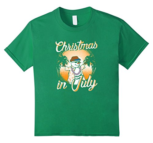 Kids Christmas In July Funny Tropical Island Snowman Tee Shirt 8 Kelly - Party Sunglasses Australian Kid
