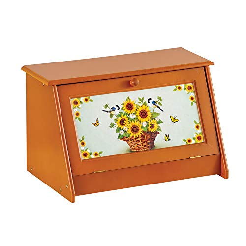 Sunflower Vintage-Style Wooden Bread Box - Food Protection and Kitchen Storage