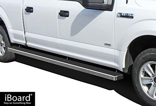 F-150 Super Crew 6.5' Bed (Wheel to Wheel (W2W) iBoard (Silver 5 inches WTW) Running Boards | Nerf Bars For 2015-2018 Ford F150 SuperCrew Cab 6.5ft Bed Pickup 4-Door / 2017-2018 Ford F-250/F-350 Super Duty)