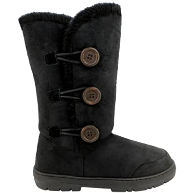 Womens Fur Lined Thick Sole Winter Snow Button Boots - Black - 5 - 36 - AEA0072