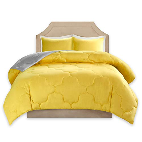 Comfort Spaces – Vixie undoable Goose affordable option Comforter little black dress Set - 2 Piece – Yellow and Grey – Stitched Geometrical Pattern – Twin/Twin XL Size, comes with 1 Comforter, 1 Sham
