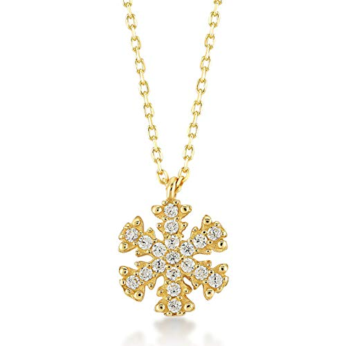 Gelin 14k Solid Yellow Gold Snowflake Winter Pendant Necklace Setting with Cubic Zirconia - Women Fine Jewellery Gift for Birthday, 18 inc