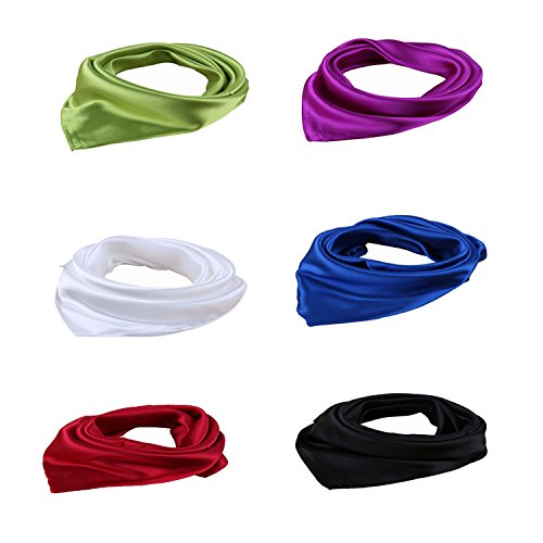 DGFA INC Women's Solid Color Silk Like Square Hair Scarf Neckerchief Ideal Gift (6 pcs)