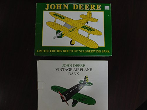 JOHN DEERE- AIRPLANE BANK Set of 2- Vintage Airplane Bank 1992 & Limited Edition Beech D17 Staggerwing Bank 1996 by DEERE & COMPANY