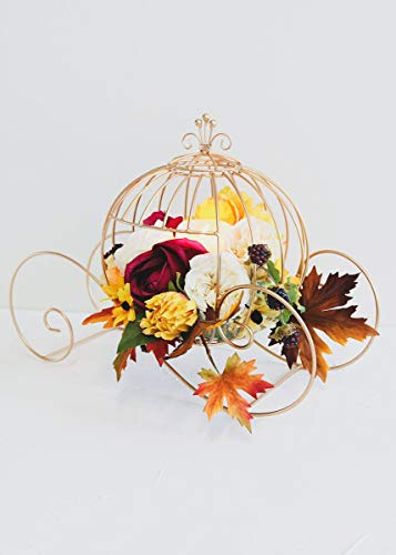 (Afloral Gold Cinderella Wire Pumpkin Carriage - 18.5