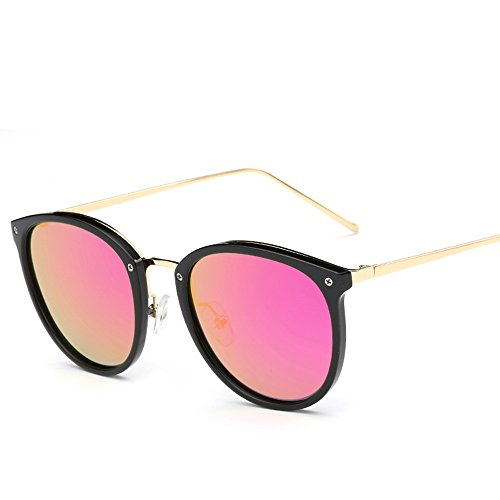VeBrellen Plastic Frame Unisex Sunglasses Polarized TAC Mirrored Colorful Lens Driving Glasses UV400 (Black Frame With Pink Lens, - Colorful Lens