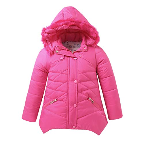 IRELIA Girls Parka Coat Fur Hooded Overcoat Winter Padded Rose Red M ()