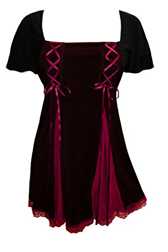 Dare to Wear Victorian Gothic Boho Women's Plus Size Gemini Princess S/S Corset Top Black/Burgundy 3X -