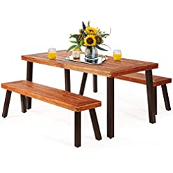 Garden and Outdoor Giantex Patio Dining Table Set with 2 Benches, Outdoor Picnic Table Set with Umbrella Hole, Acacia Wood Patio Seating… patio dining sets