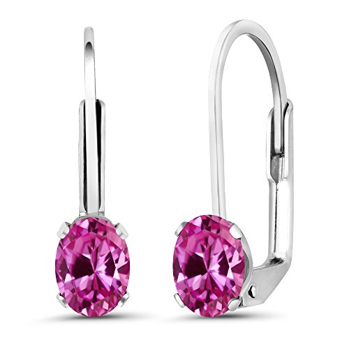 Earrings Pink Oval Sapphire (1.20 Ct Oval Pink Created Sapphire 925 Sterling Silver Earrings)