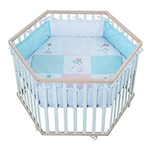roba 0232BCS186 Roba Parc à 6 angles avec tapis de protection & roulettes, grilles bébé en bois bicolore, naturel/blanc, multicolore 7