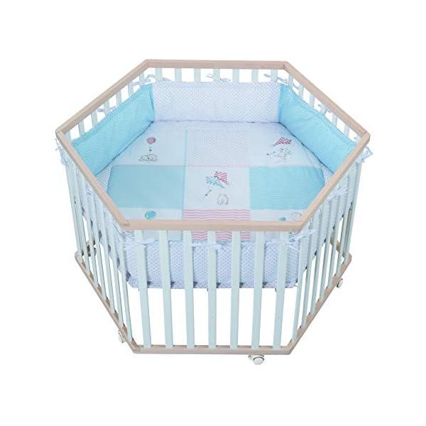 roba 0232BCS186 Roba Parc à 6 angles avec tapis de protection & roulettes, grilles bébé en bois bicolore, naturel/blanc, multicolore 1