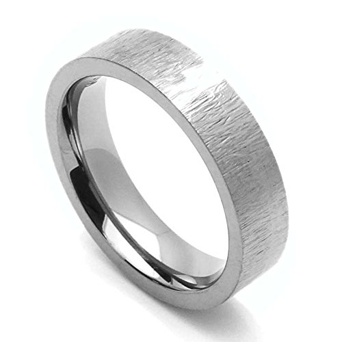 Double Accent Custom Engraving 5MM Comfort Fit Titanium Wedding Band Patterned Flat Promise Ring