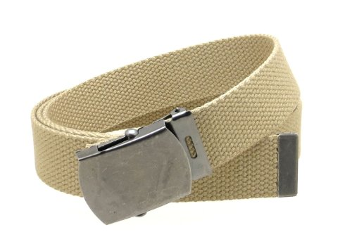 Silver Antique Buckle (Canvas Web Belt Military Style Antique Silver Buckle/Tip Solid Color 50