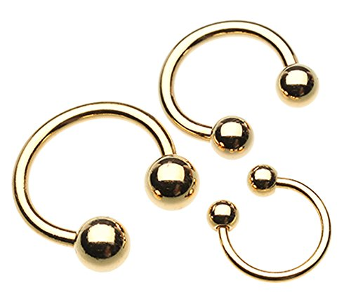 Gold Plated Horseshoe Circular Barbell - 12 GA (2mm) - Ball Size: 1/4