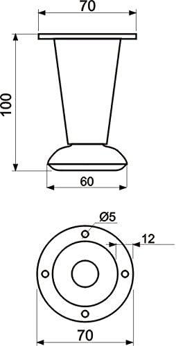 Desconocido Patas Ajustables de Aluminio Acero para Armario, Muebles o sofá GTV-NM-780