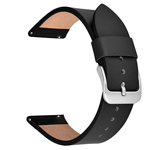 V-MORO for Gear Sport/Galaxy Watch 42mm Bands, 20mm Soft Leather Band Bracelet Strap Replacement for Samsung Gear Sport R600 & Samsung Galaxy Watch 42mm R810 & Garmin Vivomove HR Men Women Black