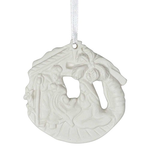 Palm Tree Porcelain (Holy Family In Creche With Palm Trees 2.5 x 2.5 Porcelain Christmas Nativity Ornament)