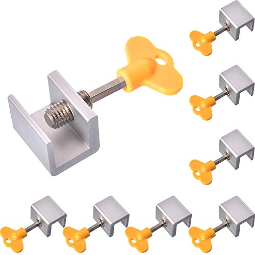 (Maxdot 8 Sets Adjustable Sliding Window Locks Aluminum Alloy Window Door Frame Security Locks with Key for Home and Office (Single-Lock, 8 Sets))