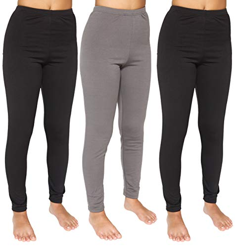 3-Pack: Womens Thermal Underwear Pants Set Fleece Lined Leggings Warm Compression Tights Base Layer Essential Workout Clothing - Set 2, Medium