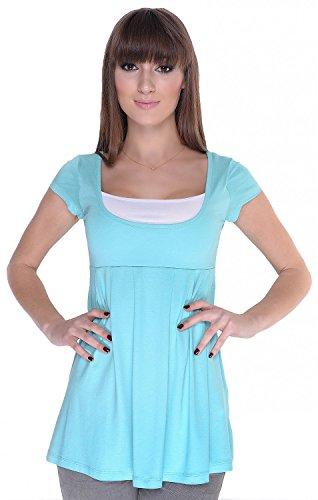 Zeta Ville - Top Camiseta - manga corta - efecto 2 en 1 - para mujer - 960z Menta