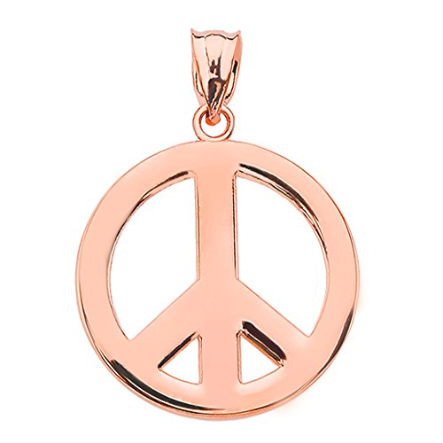 High Polish 10k Rose Gold Circle Of Peace Sign Symbol Charm Pendant ()