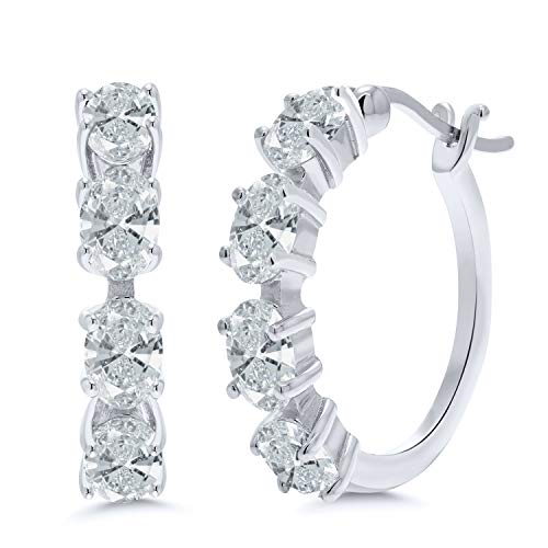 (925 Sterling Silver Hoop Earrings Set with Oval White Zirconia from Swarovski)