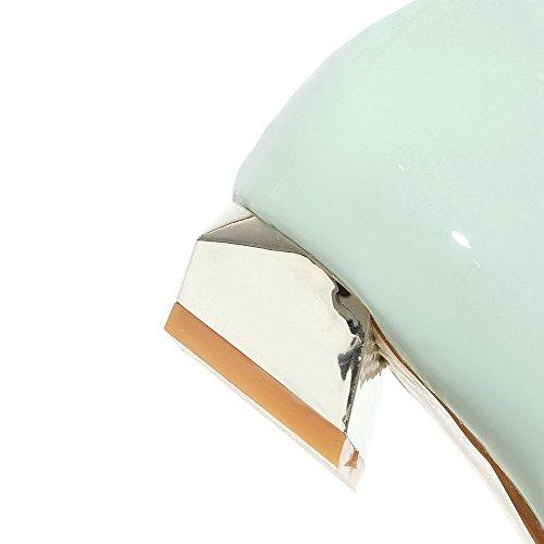 Amoonyfashion Womens Pull-on Pu-puntige Dichte Teen Lage Hakken Stevige Pumps-schoenen Blauw