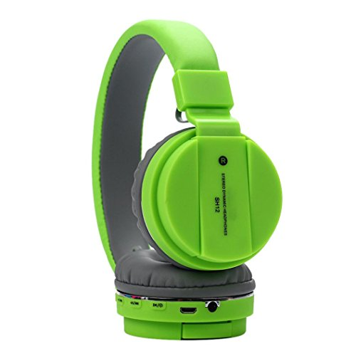 ets BT4.1 Over-Ear Headphone Soft Adjustable 3.5mm Music Earphone Stereo Headset For Smartphone, Computer, MP3, MP4 (Green) ()